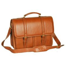Picture of Aston Leather Tan Briefcase with two front pockets for Men