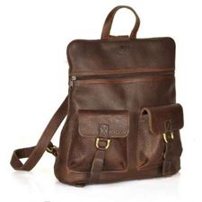 Picture of Aston Leather 2 Compartment Brown Backpack for Women