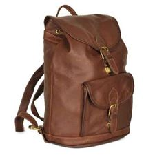 Picture of Aston Leather Large Drawstring Brown Backpack w Front Buckle Pocket