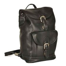 Picture of Aston Leather Medium Drawstring Black Backpack w Front Buckle Pocket