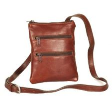 Picture of Aston Leather Ladies Slim Brown Double Zippered Shoulder Bag